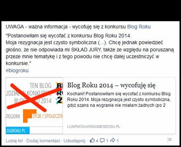 Ogłoszenie z bloga Lumpiata o  rezygnacji z udziału w konkursie Blog Roku