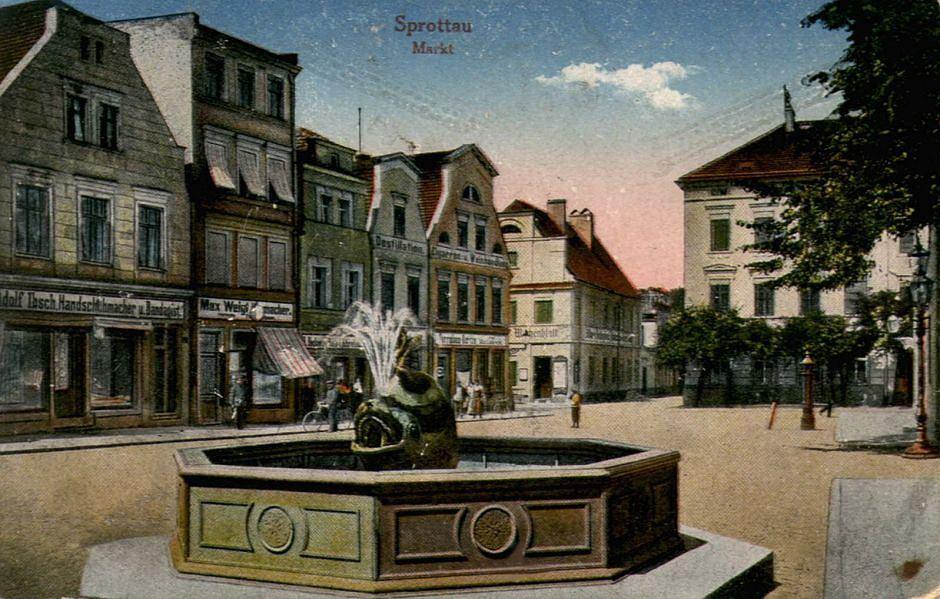 Fontanna na dawnej pocztówce