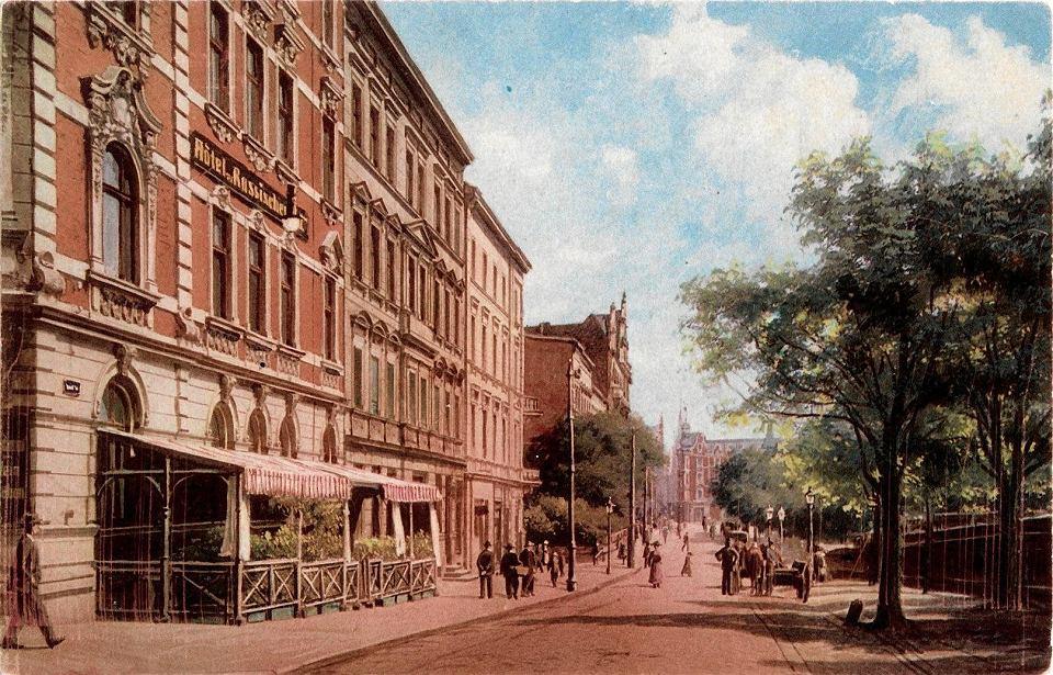 Katowice, fragment ulicy Dworcowej, zdjęcie z lat 1912-1920. Pocztówka ze zbiorów Marka Wójcika