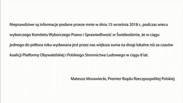 Sprostowanie Mateusza Morawieckiego zamieszczone przed głównym wydaniem 'Wiadomości'