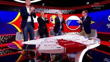 Wielka radość Cezarego Trybańskiego po wygranym meczu Polski z Rosją