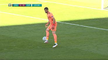 Unai Simon (Hiszpania) samobójcze trafienie, 1/8 Euro 2020, Chorwacja. Źródło; TVP SPORT TRANSMISJA