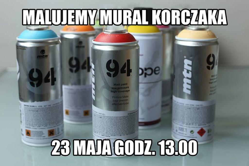 Zaproszenie na sobotnią akcję odmalowywania pomazanego muralu poświęconego Januszowi Korczakowi