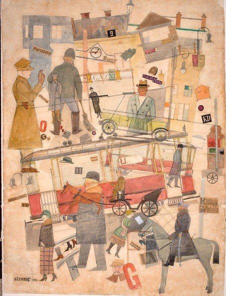 Ilustracja: Marek Włodarski (Henryk Streng), Ulica, 1924, akwarela, naklejanie, papier na tekturze