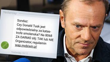 W SMS-owym sondażu pytano o odpowiedzialność Donalda Tuska za katastrofę smoleńską