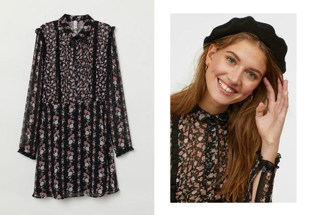 H&M wyprzedaż sukienki - sukienka szyfonowa w kwiaty, cena 79,90 zł