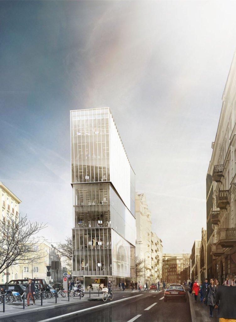 Projekt budynku biurowo-usługowo-mieszkaniowego, który ma stanąć u zbiegu ul. Pięknej i Koszykowej, autor projektu: Grupa 5 Architekci Sp. z o.o.