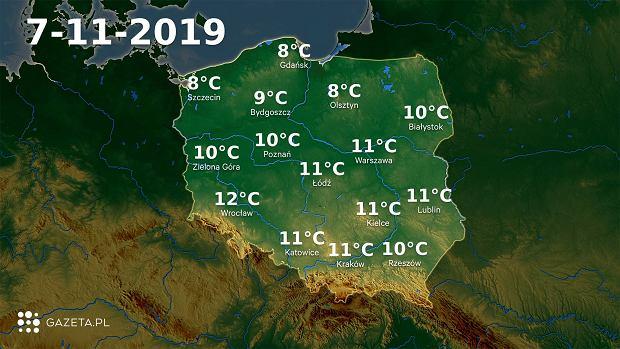 Pogoda na dziś - czwartek 7 listopada.
