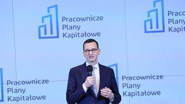 Prezes Rady Ministrów Mateusz Morawiecki podczas konferencji dotyczącej Pracowniczych Planów Kapitałowych.