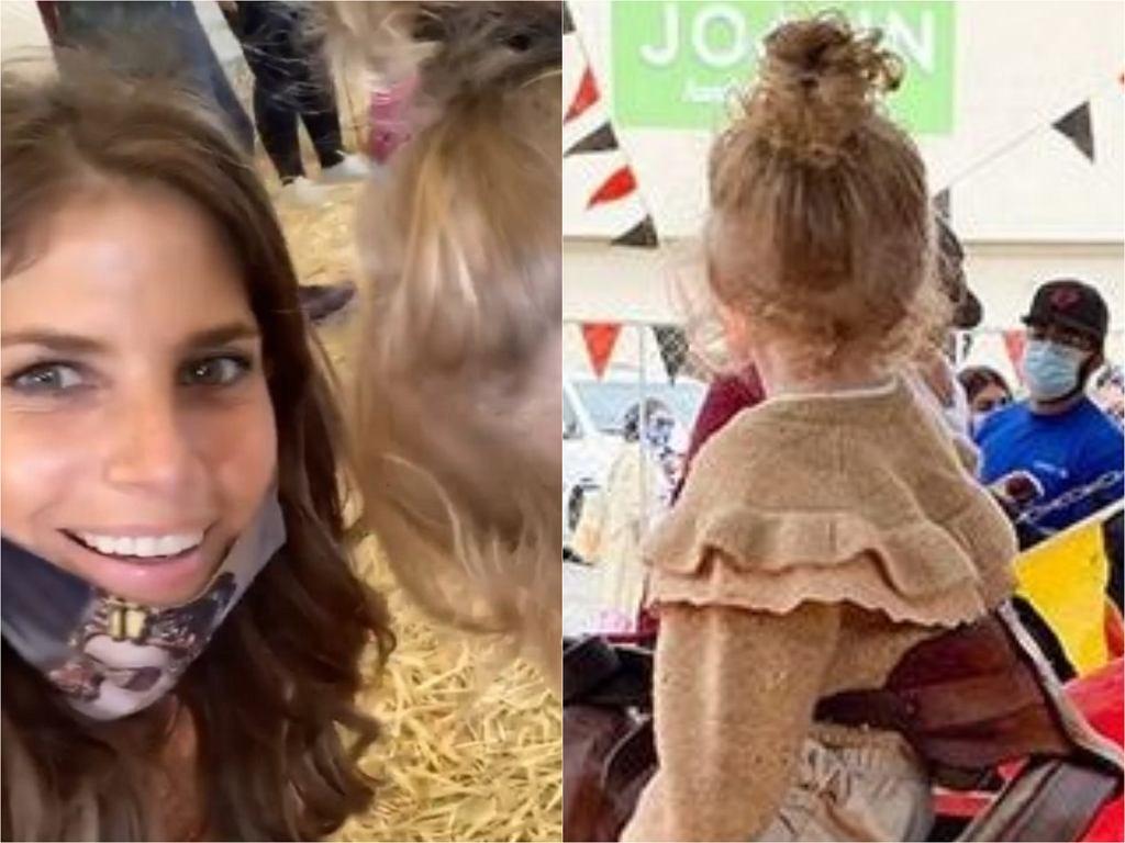 Weronika Rosati z córką na farmie dyniowej