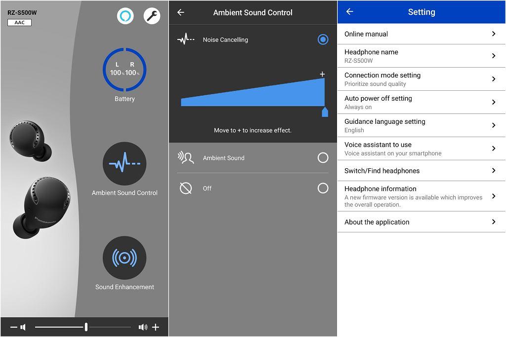 Aplikacja do sterowania słuchawkami  Panasonic RZ S500W