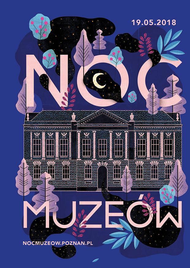 Plakat promujący Noc Muzeów 2018 w Poznaniu