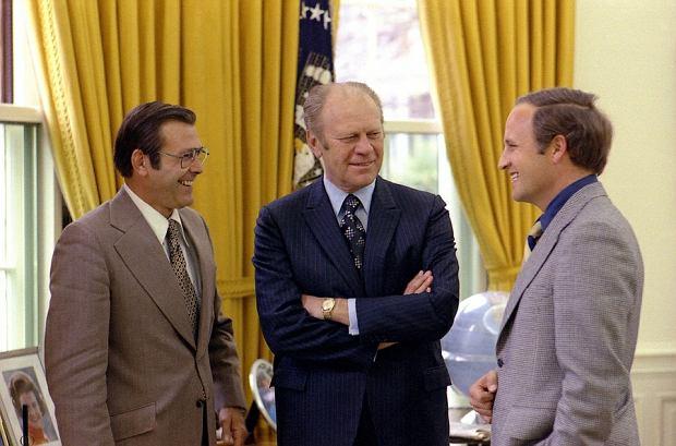 Dick Chenney (z prawej) na spotkaniu z prezydentem Geraldem Fordem