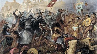 Zdobycie stolicy państwa Azteków przez konkwistadorów na miedziorycie z XIX w.