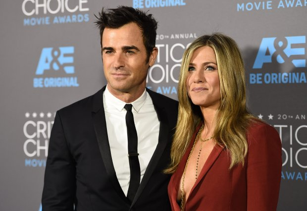 Justin Theroux, left, and Jennifer Aniston arrive at the 20th annual Critics' Choice Movie Awards at the Hollywood Palladium on Thursday, Jan. 15, 2015, in Los Angeles. (Photo by Jordan Strauss/Invision/AP)