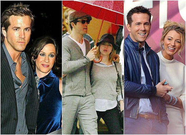 Ryan Reynolds i jego narzeczone. Od lewej: Alanis Morissette, Scarlett Johansson, Blake Lively.