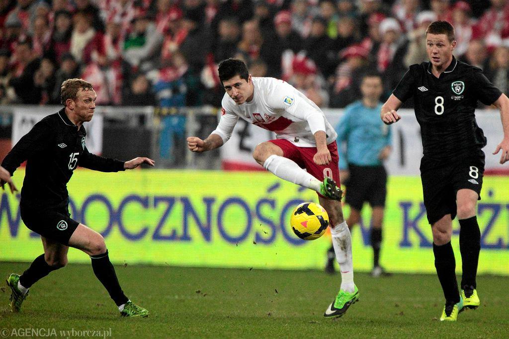 Robert Lewandowski w meczu Polska - Irlandia 0:0