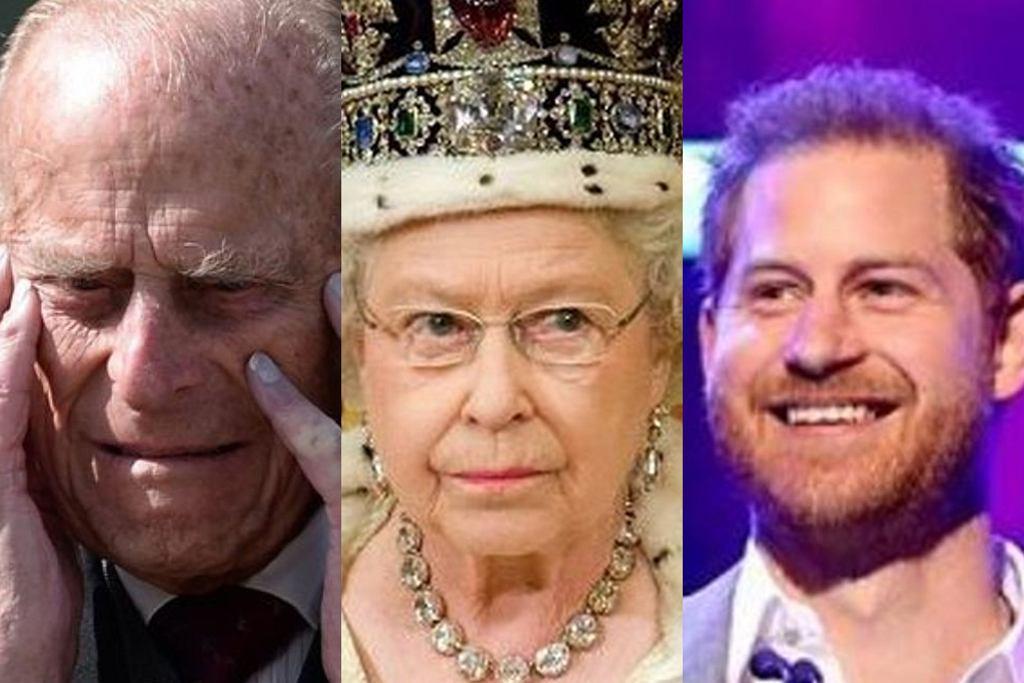 Królowa Elżbieta, książę Filip, książę Harry