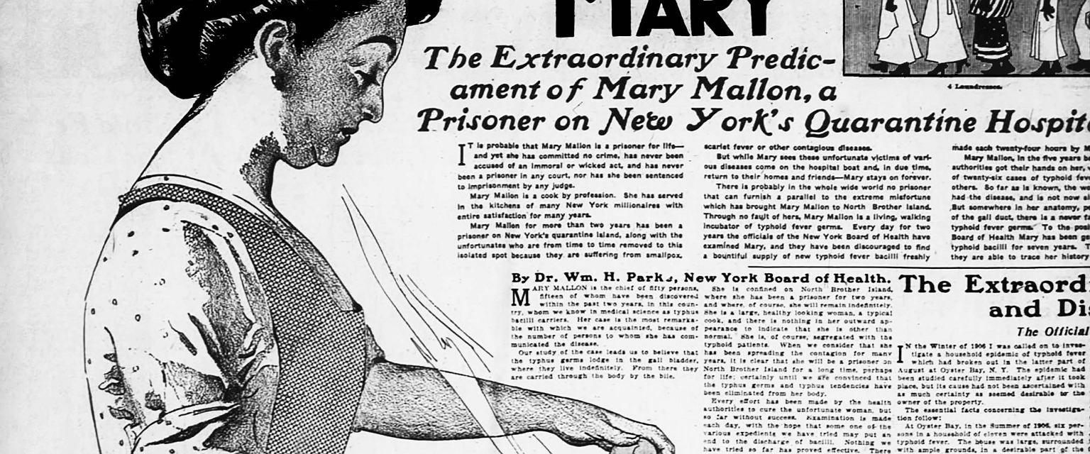 Mary Mallon w gazecie z 1909 roku (fot. The New York American)