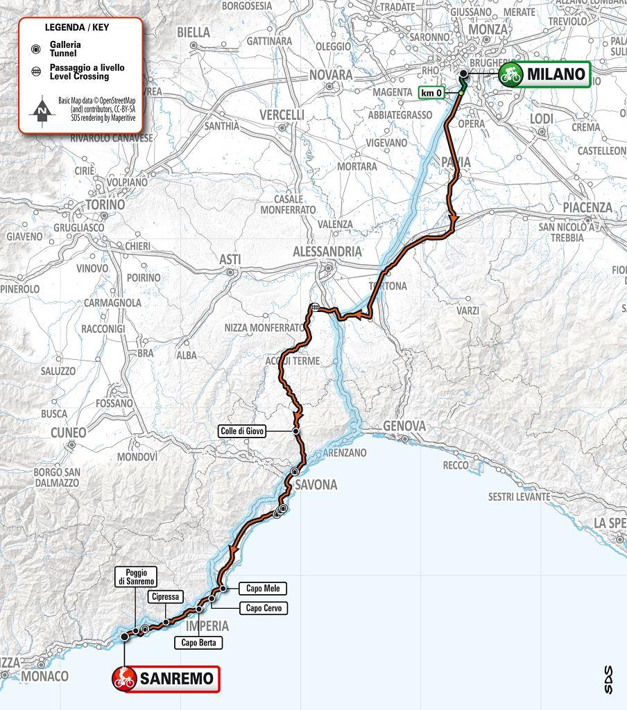 Mapa wyścigu Mediolan - San Remo