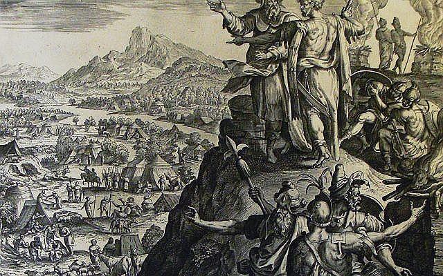 Prorok Balaam błogosławiący Izraelitów. Obok przygląda się temu król Balak.