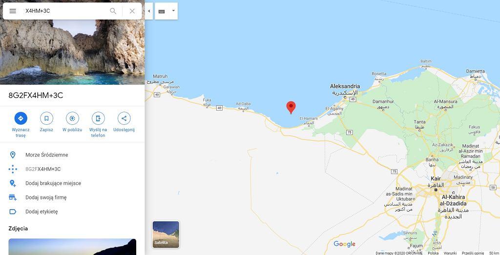 Kody plus w Mapach Google