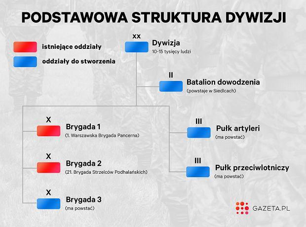Schemat podstawowej struktury dywizji