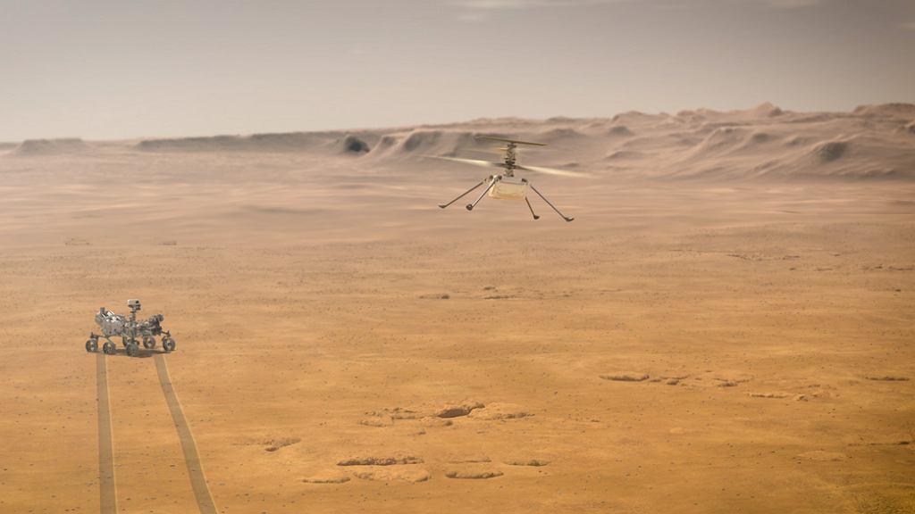 Łazik Perseverance i helikopter Ingenuity Mars - wizja artysty.