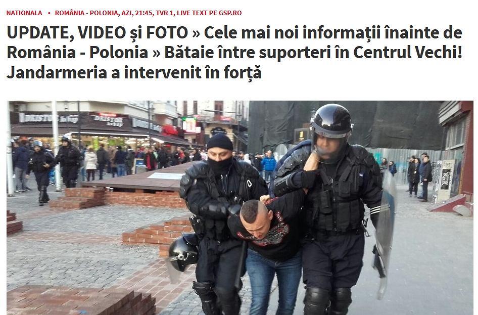 Bójki z udziałem polskich kibiców przed meczem Rumunia - Polska