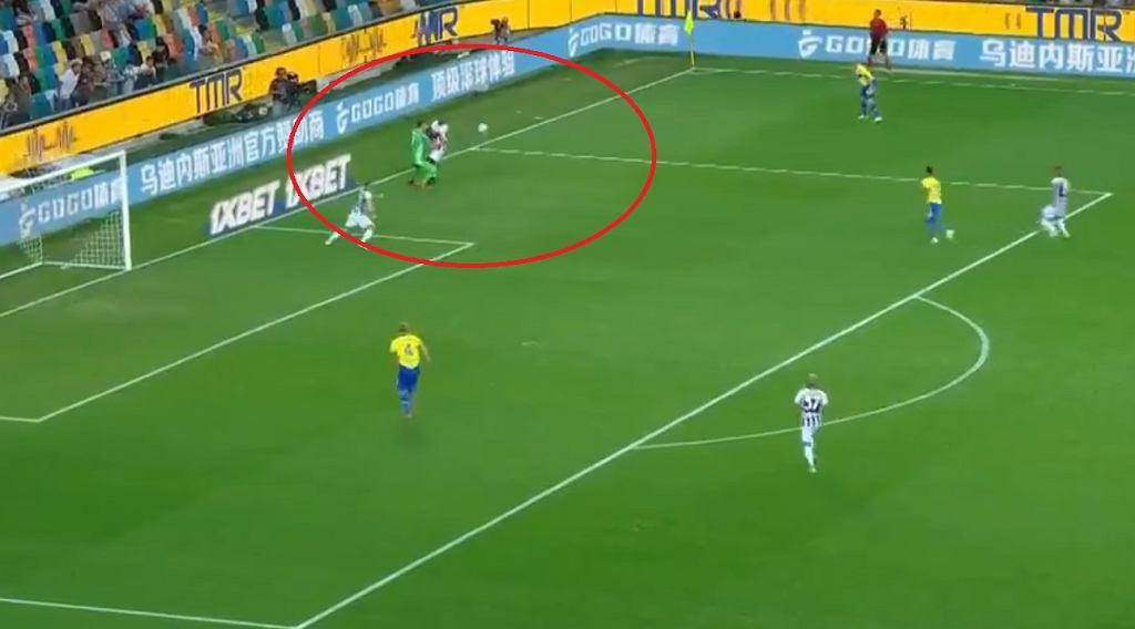 Katastrofalny błąd Wojciecha Szczęsnego w meczu Udinese - Juventus