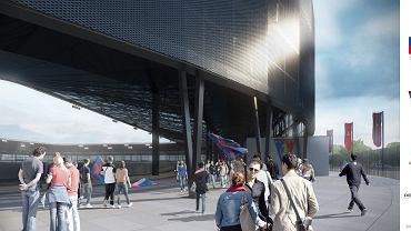 Zmieniony projekt stadionu Pogoni. Wejście na koronę stadionu. Na górze widać ciemną metalową siatkę, która zespoli przestrzeń między trybunami a dachem