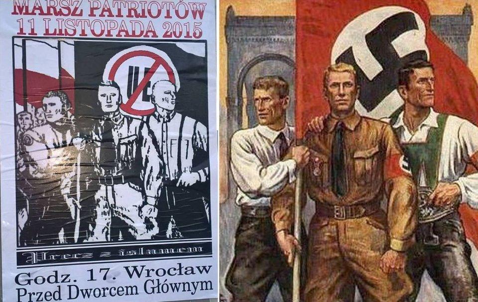 Plakaty zapraszające na 'marsz patriotów' sprzed roku