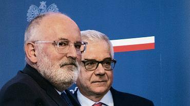Konferencja prasowa Fransa Timmermansa i Jacka Czaputowicza podczas wizyty wiceprzewodniczącego Komisji Europejskiej w Polsce. Warszawa, Belweder, 9 kwietnia 2018 r.