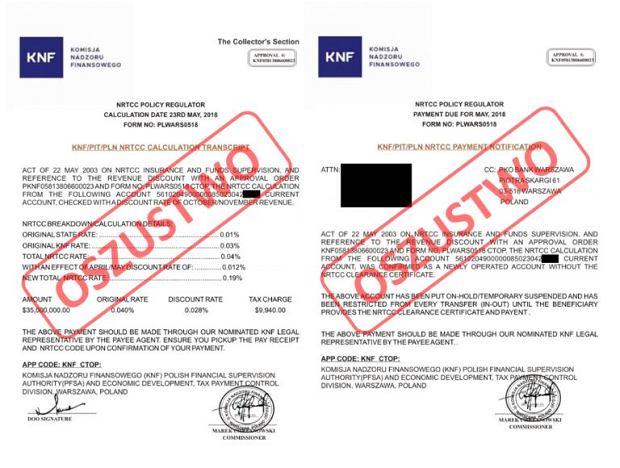 Fałszywe dokumenty wykorzystujące logotyp KNF