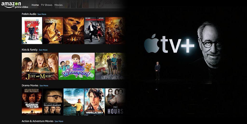 Amazon Prime po lewej i Apple TV+ po prawej