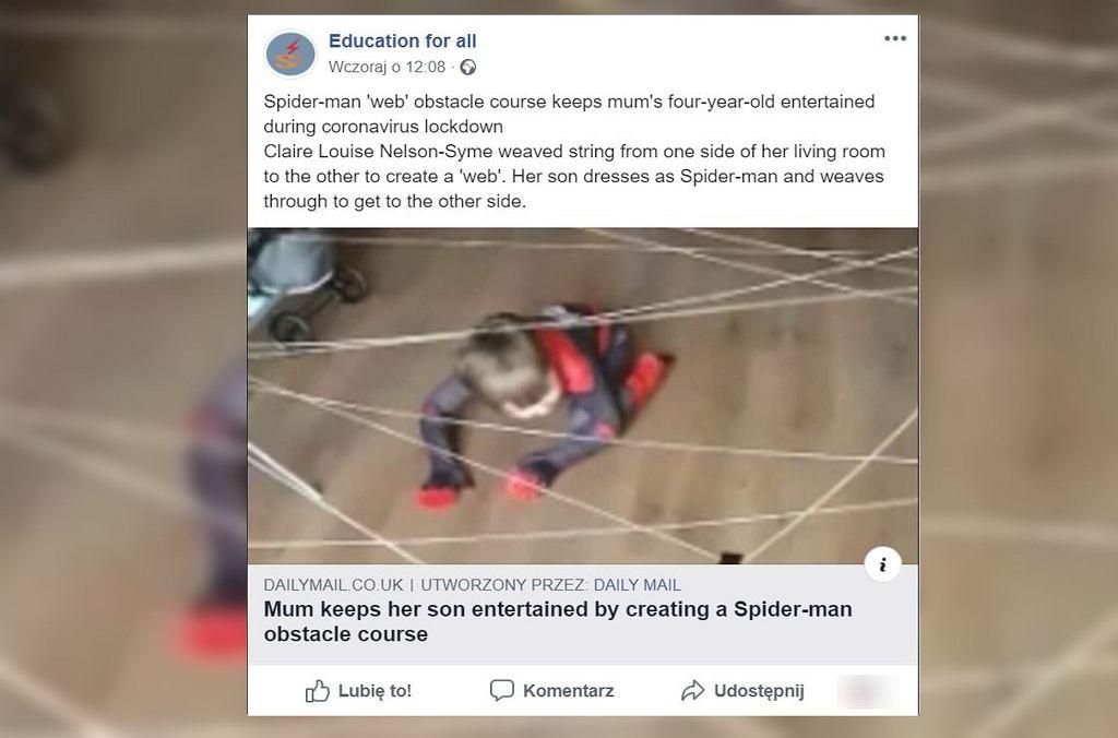Mama wymyśliła 'wyzwanie Spidermana'