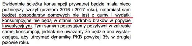 Fragment raportu mBanku o sprzedaży detalicznej