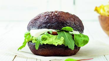 Wegetariańskie hamburger z pieczarek portobello