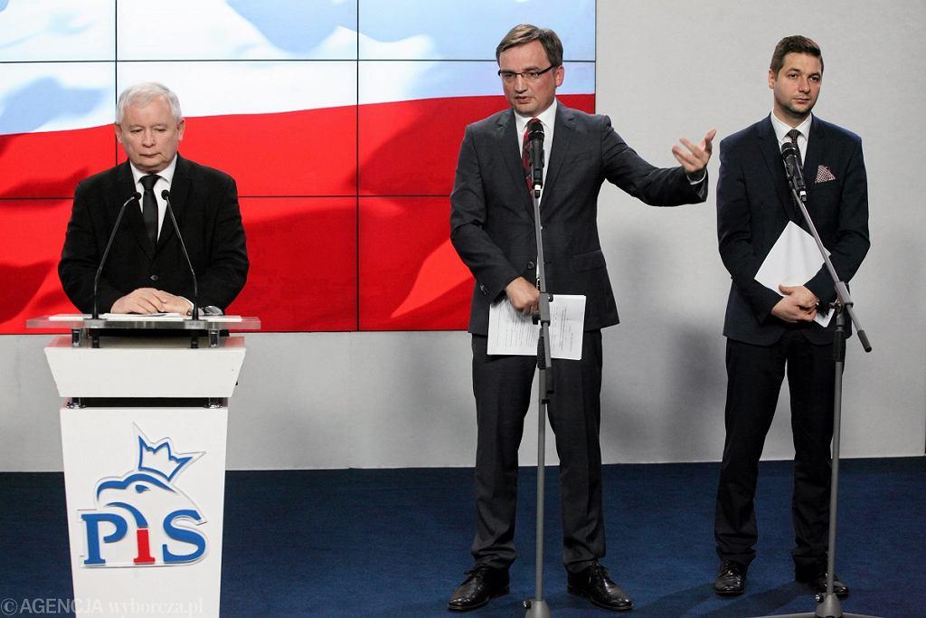 Konferencja Jarosława Kaczyńskiego, Patryka Jakiego i Zbigniewa Ziobry