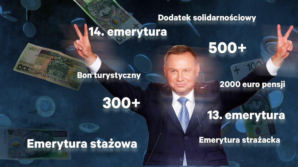 Prezydent Andrzej Duda, ubiegając się o reelekcję, sypie obietnicami