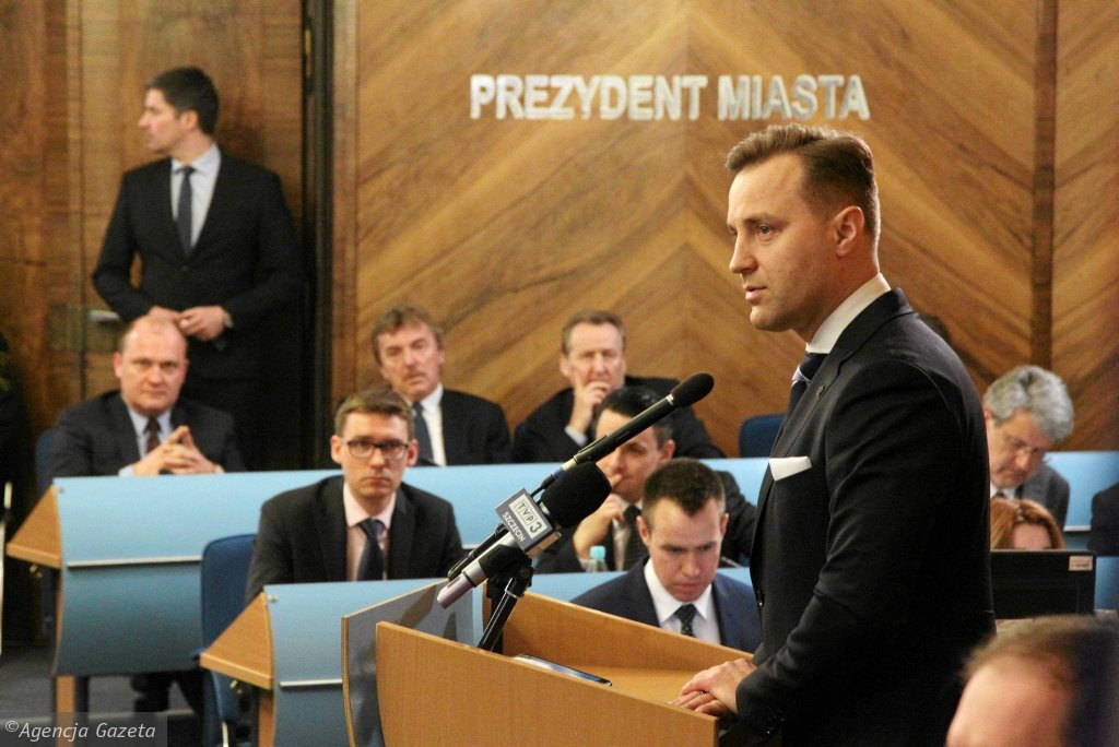 Dariusz Marzec, prezes Ekstraklasy SA podczas sesji na temat stadionu