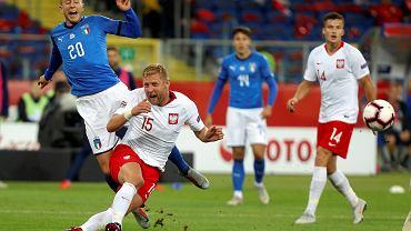 Federico Bernardeschi i Kamil Glik podczas meczu Polska - Włochy (Liga Narodów). Chorzów, Stadion Śląski, 14 października 2018