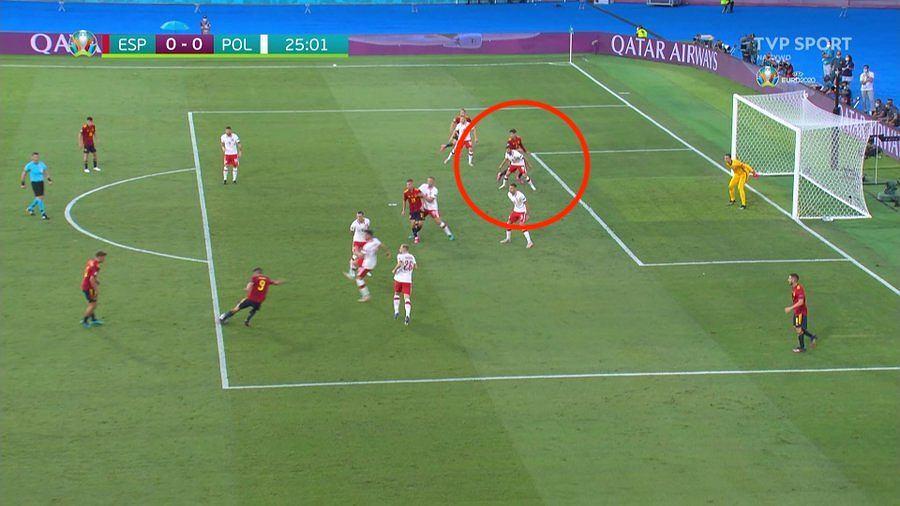 Hiszpania - Polska, Euro 2020, sytuacja bramkowa Alvaro Moraty. Źródło: TVP SPORT