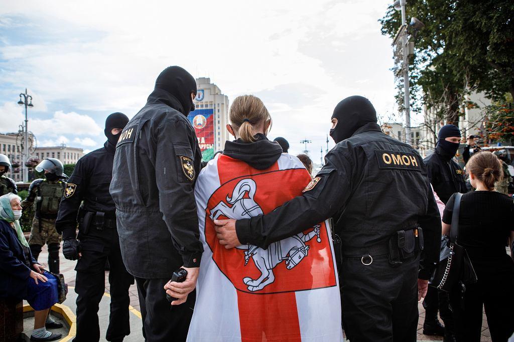 27.08.2020, Mińsk, zatrzymania podczas protestów.
