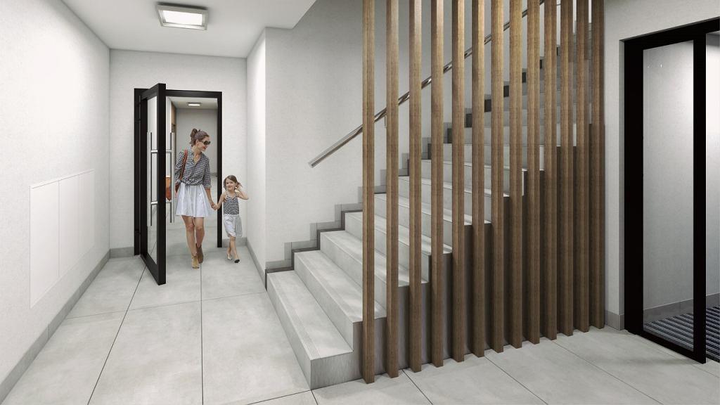 Wizualizacja klatki schodowej w inwestycji Osiedla Żelazna