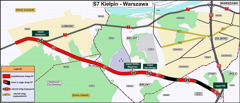 Planowany odcinek trasy S7 Kiełpin - Warszawa
