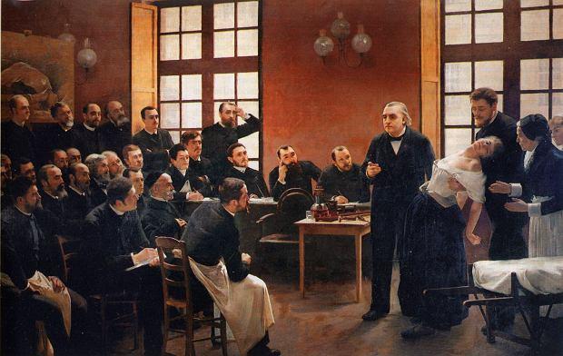 Zdjęcie obrazu André Brouilleta: Lekcja kliniczna w Salp?tri?re w Paryżu (1887) / Fot. domena publiczna Wikimedia Commons