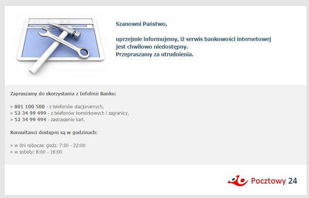 Niedostępny serwis internetowy Banku Pocztowego