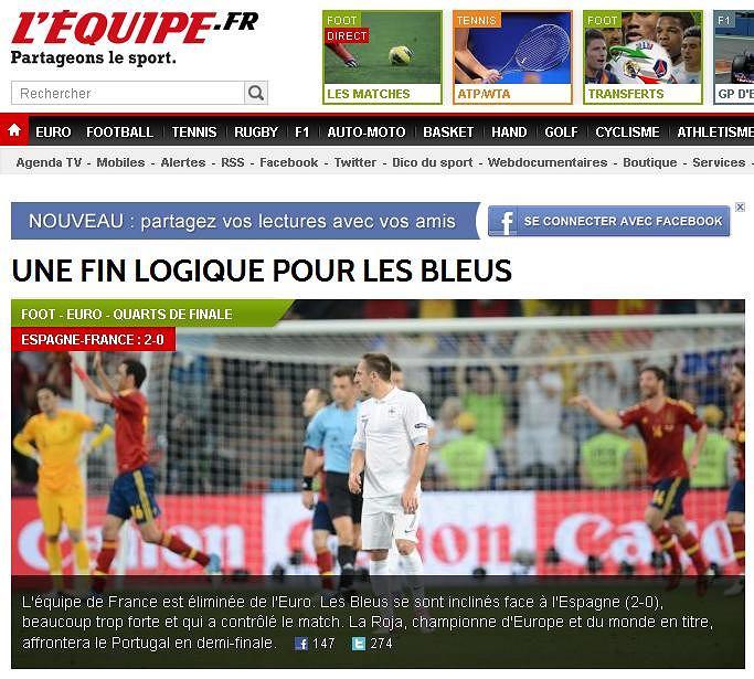 Screen z witryny L'Equipe