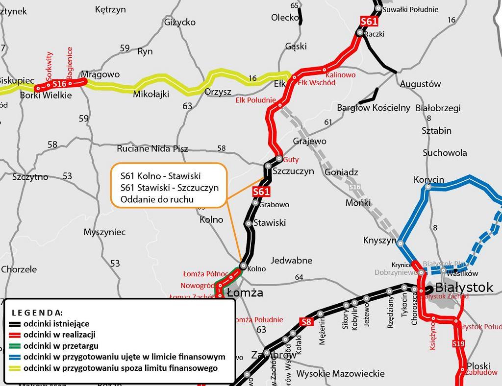 Aktualna mapa drogi ekspresowej S61 na Mazurach